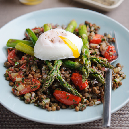 Warm British Asparagus & Lentil Salad with Poached Eggs