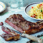 Porterhouse Steak with Pine Nut Spaghetti