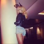 Rihanna sports Chanel bunny ears backstage in Cardiff