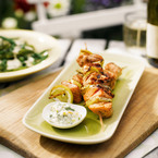 Salmon Skewers with a Lemon Dip