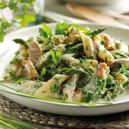 Chicken pasta, asparagus, fresh herbs