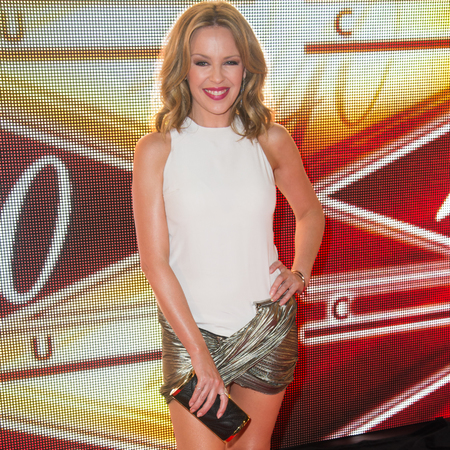 Kylie Minogue in Anthony Vaccarello dress with metallic hot pants detail