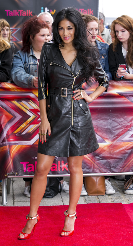 Nicole Scherzinger wears leather coat dress at X Factor London auditions