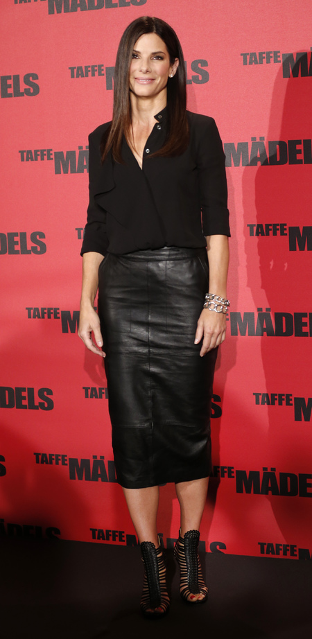 Sandra Bullock wears ASOS leather skirt for The Heat Berlin photocall