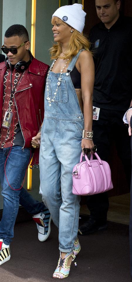 Rihanna and her pink Givenchy Lucrezia bag