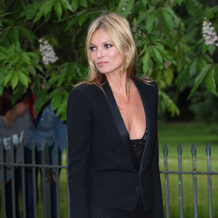 Kate Moss wears black sheer maxi on a night out in London