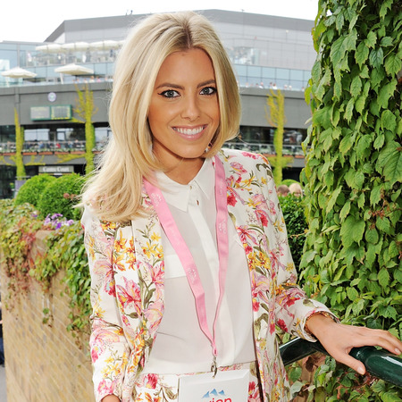 Mollie King at day one of Wimbledon 2013 in floral shorts suit
