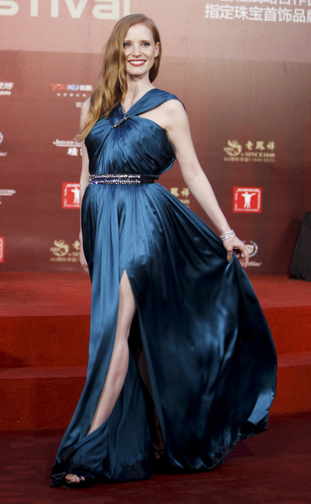 Jessica Chastain in blue gown at Shanghai Film Festival