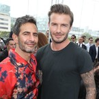 David Beckham cosies up to Marc Jacobs on PFW front row