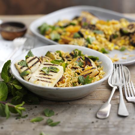 BBQ rice salad with garlic, aubergine, butternut squash and halloumi recipe