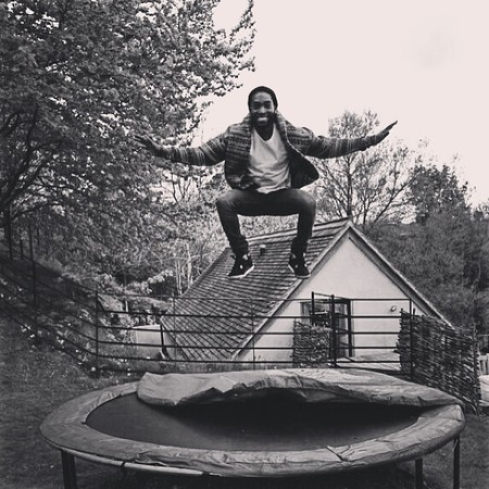 Tinie Tempah releases new track 'Trampoline' and shares photo on Instagram of him jumping on a trampoline