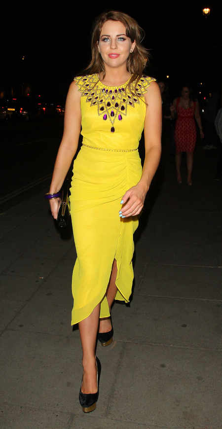 Lydia Bright parties in yellow dress on girls' night out in London