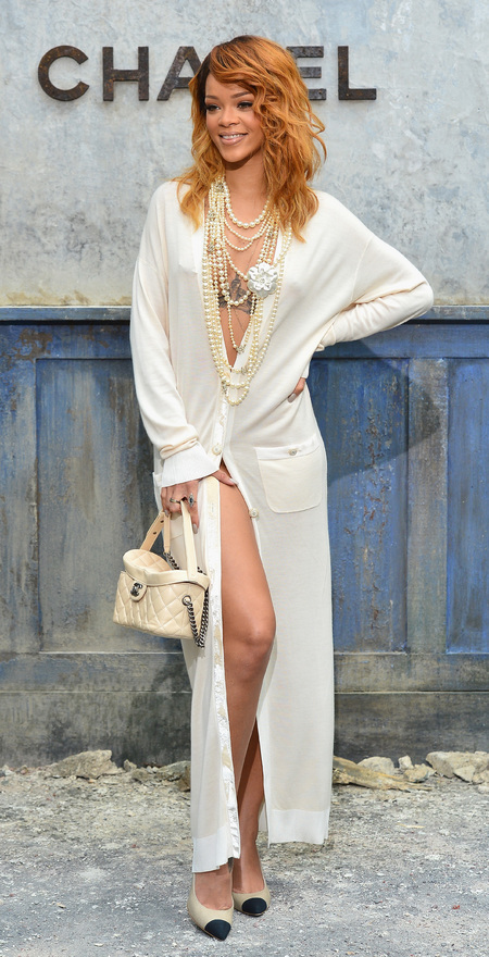 Rihanna wearing white Chanel dress
