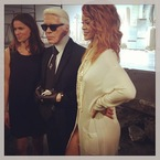 Rihanna in Chanel with Karl Lagerfeld