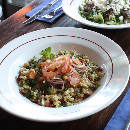 Pomegranate, tomato and red onion salad with cous cous