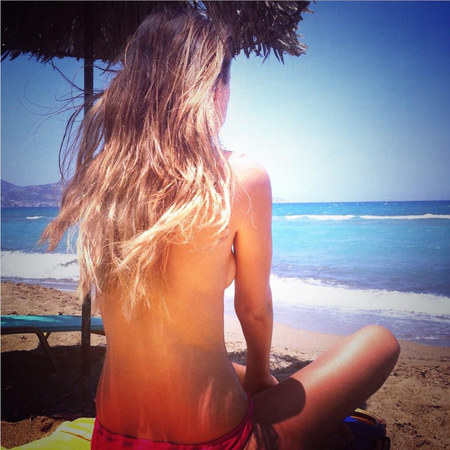 Made In Chelsea's Lucy Watson tweets photo of herself sunbathing topless on holiday