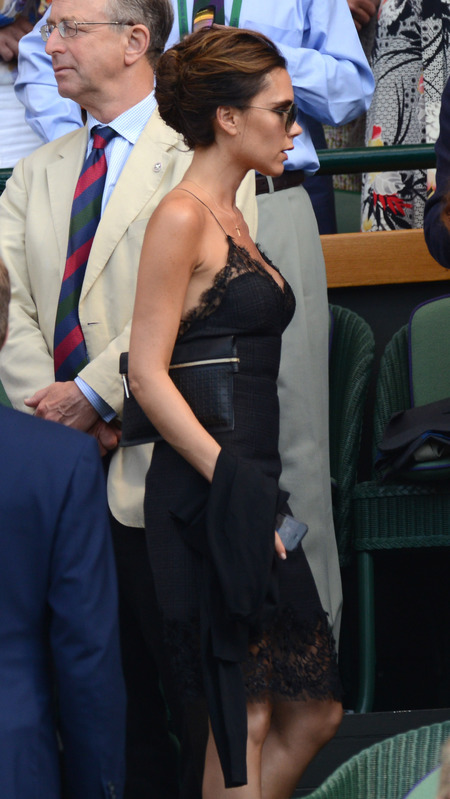 Victoria Beckham recycles Louis Vuitton dress for Wimbledon final - Wimbledon fashion - Victoria Beckham dress - celebrity style - handbag.com