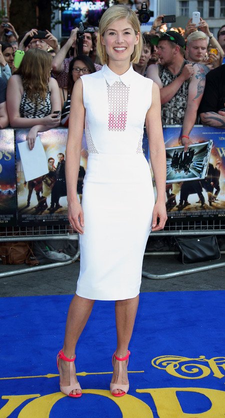 Rosamund Pike in white Victoria Beckham dress