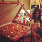 Celeb food battle: Vanessa Hudgens vs. Giant pizza