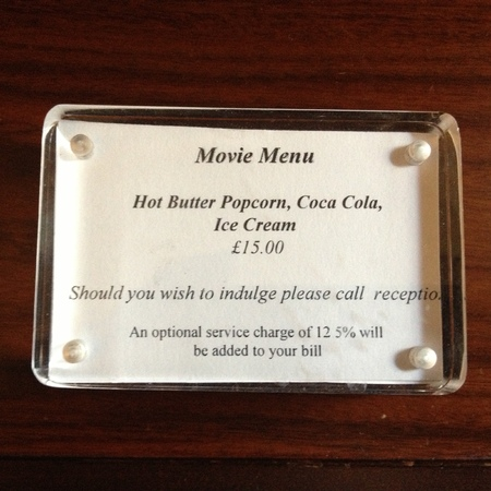 Threadneedles Hotel, London, movie menu