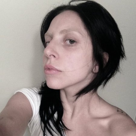 Lady Gaga with brown hair and no makeup