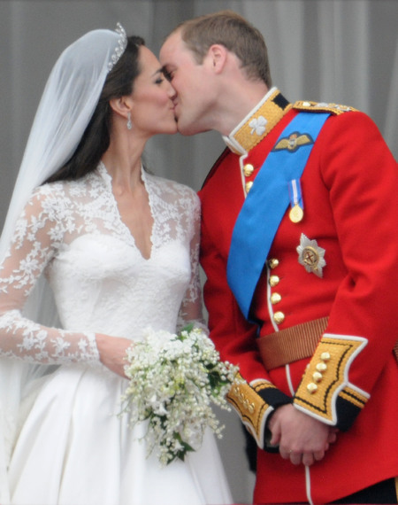 Kate and William kiss on their wedding day