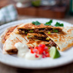 Mexican night! Beef quesadillas with chilli salsa