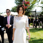 Anna Friel rocks angel dress with heart-shaped halo