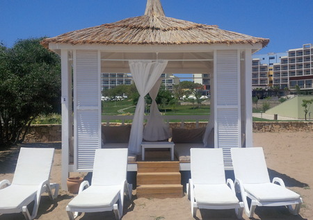 Beach cabana sunbed Turkey weather