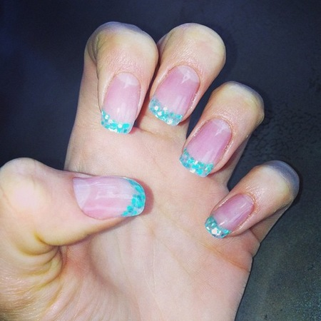 Jessie J green glitter French tips nail art