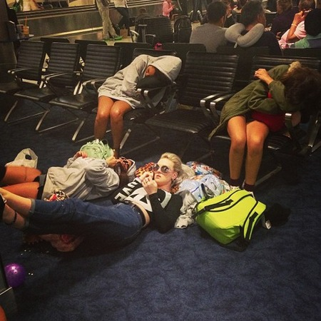 Little Mix get delayed in airport
