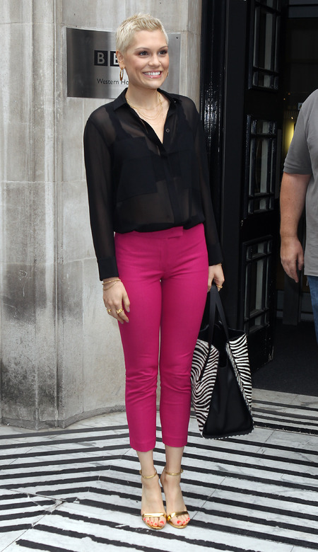 Jessie J steps out in hot pink trousers for It's My Party promo