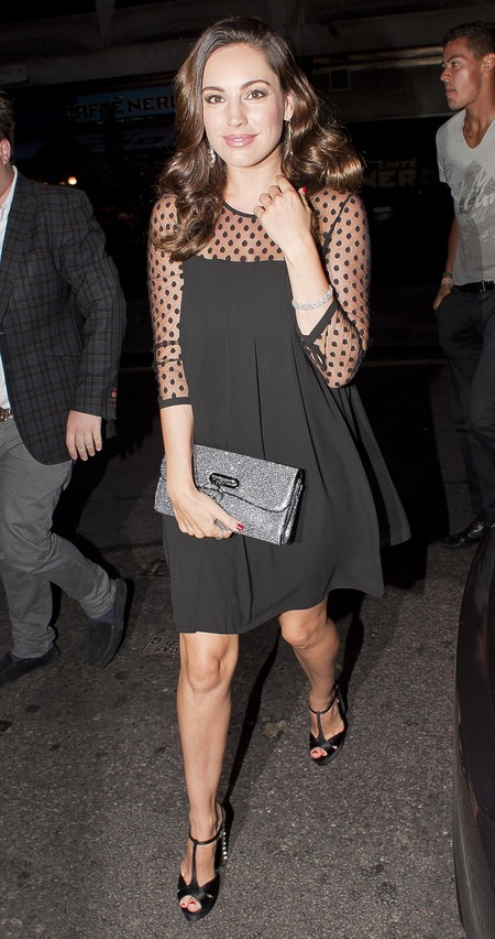 Kelly Brook's polka dot black dress
