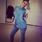Kelly Brook rocks risky double denim like a pro