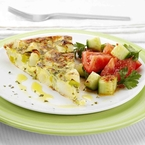 Spanish Tortilla with tomato & cucumber salad