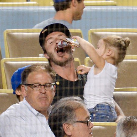 David and Harper Beckham at Los Angeles Dodgers game