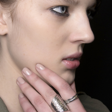 Shiny nude nails at Marco de Vincenzo