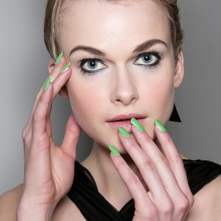 Lime green nails at PPQ