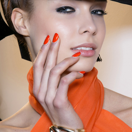 Hot coral nails at PPQ