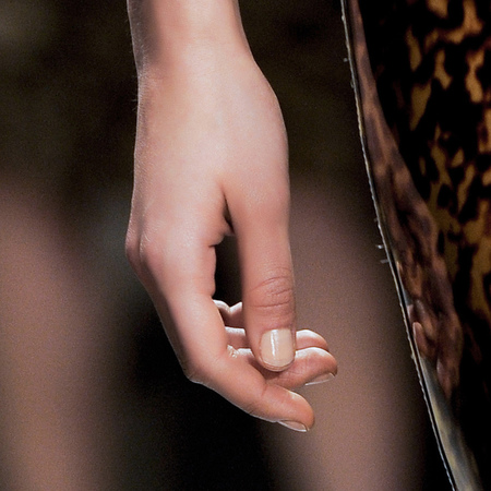 Creamy nude nails at Simone Rocha