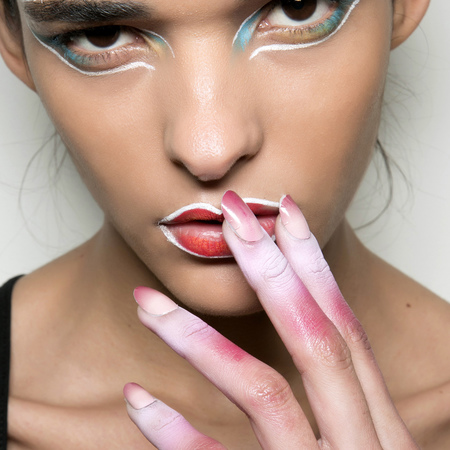 Pink and white nails at Vivienne Westwood