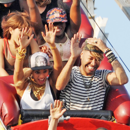 Beyonce filming on a roller coaster in Coney Island, New York