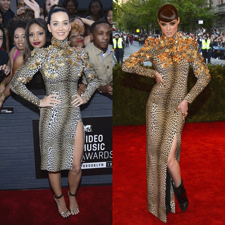 Katy Perry and Coco Rocha in same animal print Ungaro dress