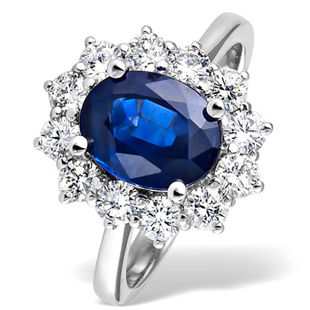 Sapphire 2.30ct and Diamond Ring