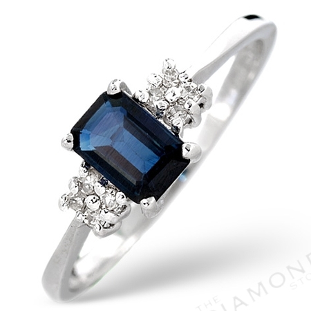 Sapphire 6x4 and diamond ring