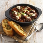 Flamin' BBQ meatballs in spicy tomato sauce