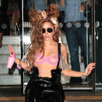 Lady Gaga hits London in sheer pink bra & PVC dungarees
