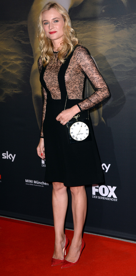 Diana Kruger in Jil Stuart dress and Charlotte Olympia bag