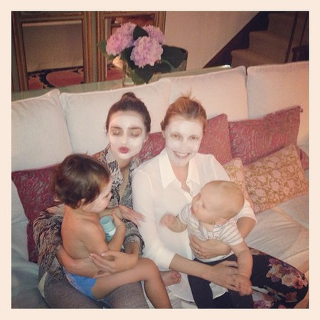 Miranda Kerr face masks with baby Flynn