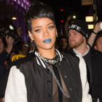 Rihanna's blue lipstick at River Island in London